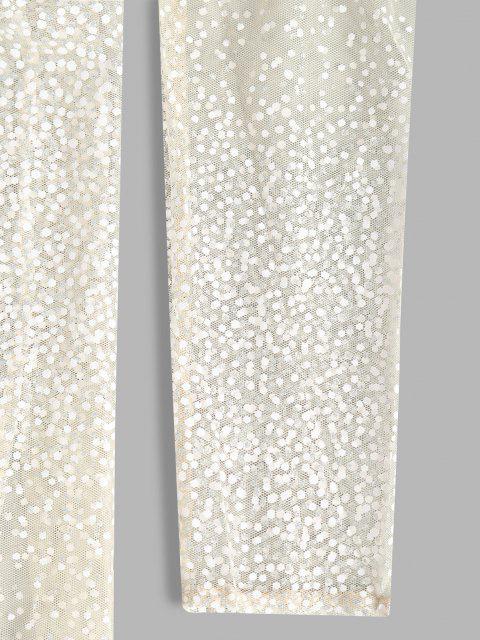 womens Spotted Glitter High Slit Sheer Mesh Dress - LIGHT YELLOW L Mobile