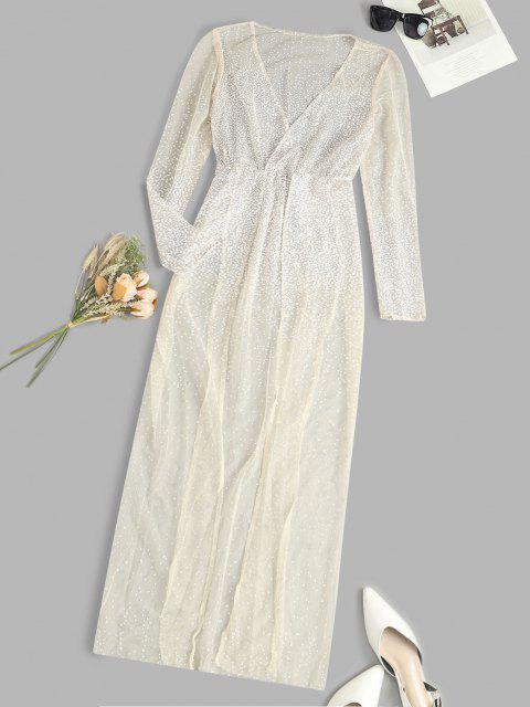 Vestito Trasparente a Pois con Spacco Alto - Giallo chiaro M Mobile