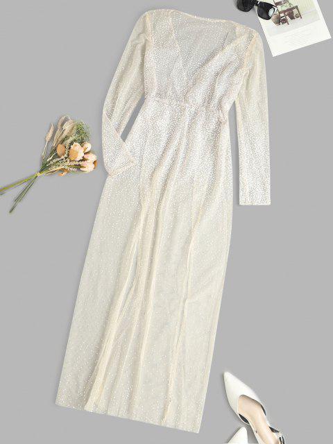 Spotted Glitter High Slit Sheer Mesh Dress - أصفر فاتح S Mobile