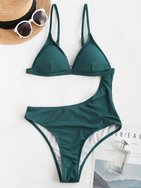 women ZAFUL Solid Cut Out Ribbed One-piece Swimsuit - DEEP GREEN S Mobile