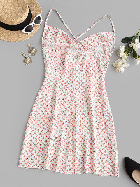 fancy Ditsy Floral Slit Cowl Front Mini Dress - LIGHT PINK S Mobile