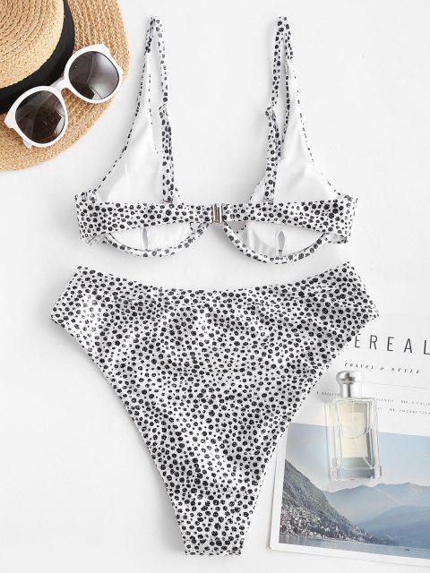 outfits ZAFUL V Wired Leopard Print Bikini Swimwear - BLACK S Mobile