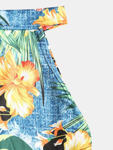 latest Floral Twist Asymmetrical Tie Side Two Piece Dress - MULTI L Mobile
