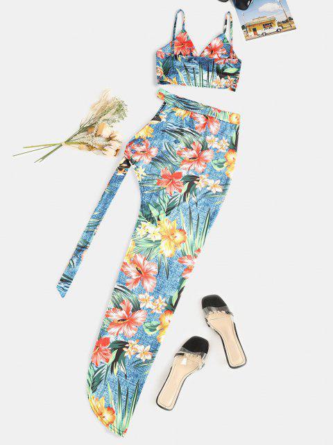 Vestido assimétrico de duas peças com impresso floral - Multi S Mobile