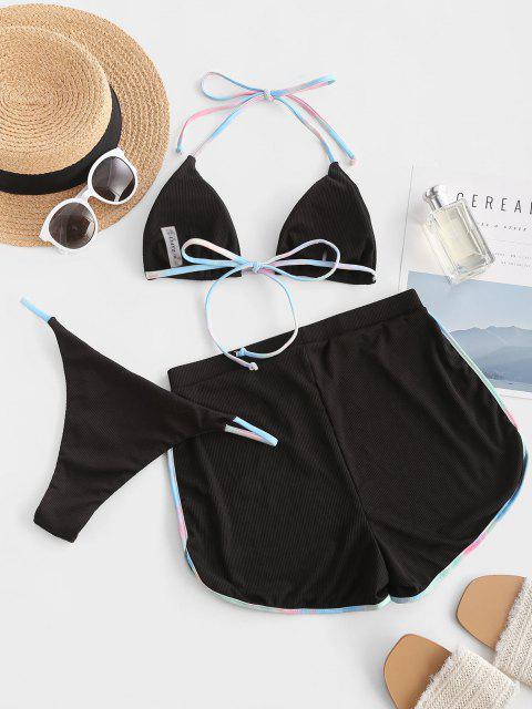 sale ZAFUL Halter Ribbed Tie-dye Trim Three Piece Swimsuit - BLACK L Mobile
