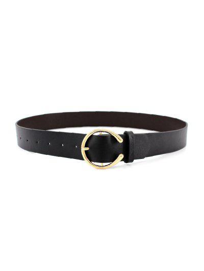 C Shape Pin Buckle Dress Belt - Black