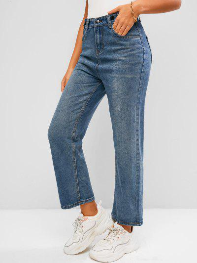 Pockets High Waisted Wide Leg Jeans - Blue L