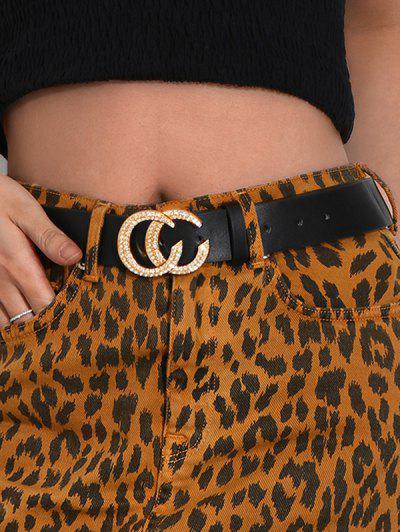 C Shaped Rhinestone Buckle Belt - Black
