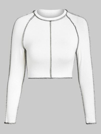 ZAFUL Topstitching Raglan Sleeve Crop T Shirt - White M
