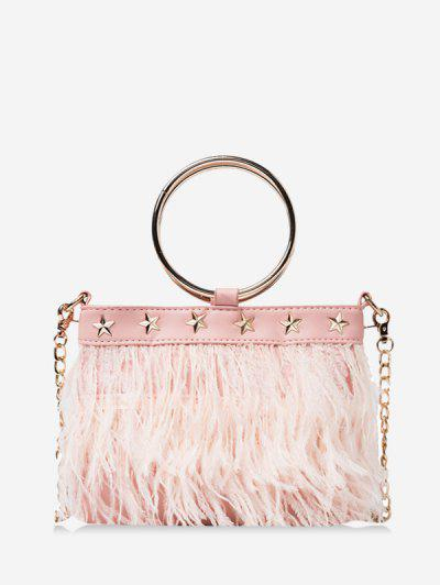 Feather Fringe Star Chain Crossbody - Pink