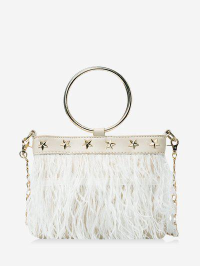 Feather Fringe Star Chain Crossbody - White