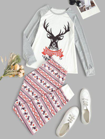 Christmas Elk Snowflake Raglan Sleeve Pajama Pants Set - Multi L