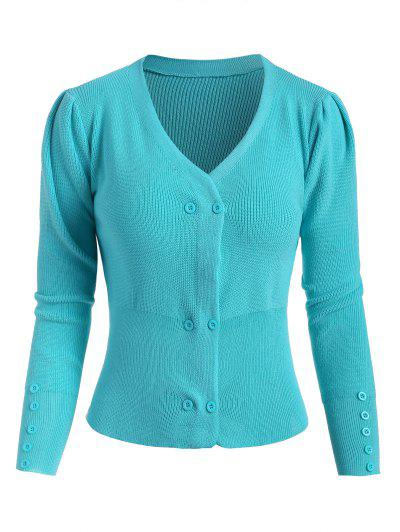 Double Breasted Buttoned Cuff Knit Cardigan - Blue