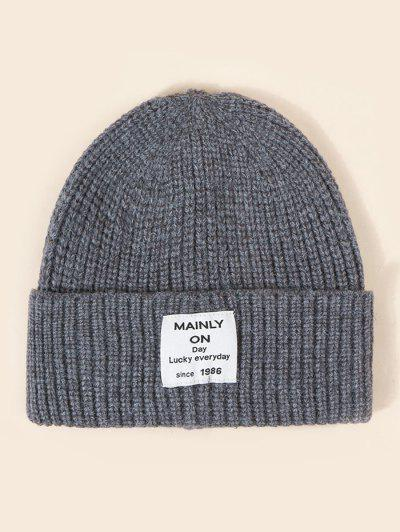 Letter Label Solid Knitted Hat - Smokey Gray