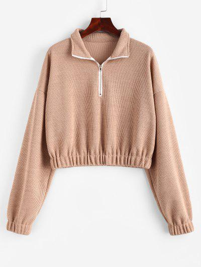 Elasticated Trim Half Zip Knit Sweatshirt - Light Coffee M