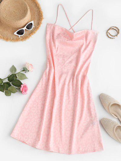 Leopard Jacquard Lace Up Backless Cowl Front Dress - Light Pink S