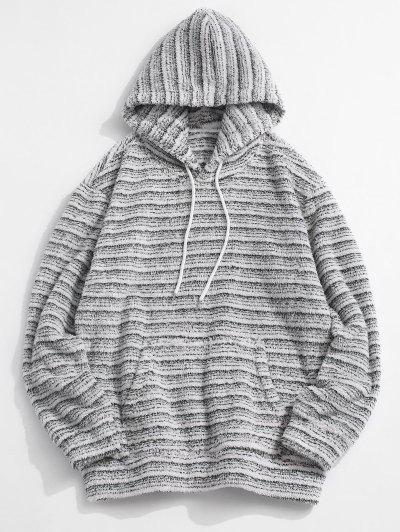 Kangaroo Pocket Striped Pattern Fluffy Hoodie - Multi Xl
