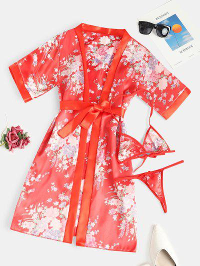 Belted Flower Wrap Robe With Bralette Set - Red