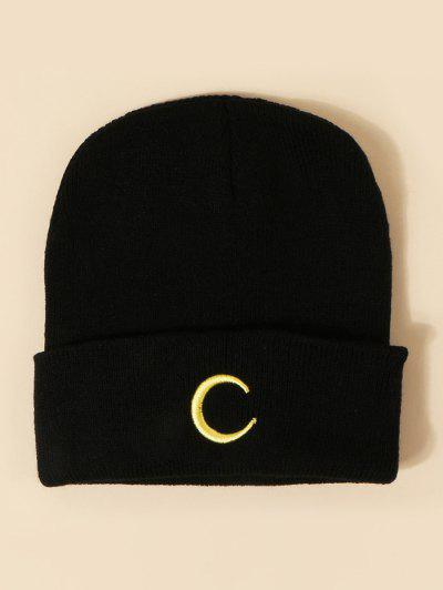 Moon Embroidery Pattern Knitted Hat - Black