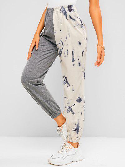 ZAFUL Tie Dye Colorblock Jogger Sweatpants - Gray S