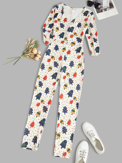 Christmas Trees Placket Long Sleeve Onesie Pajama - White S