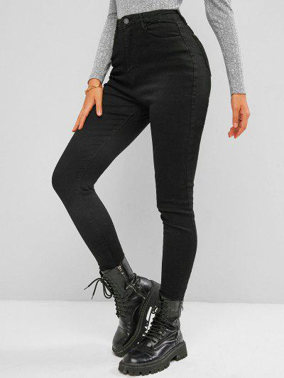 High Waisted Dark Wash Skinny Jeans - Black L