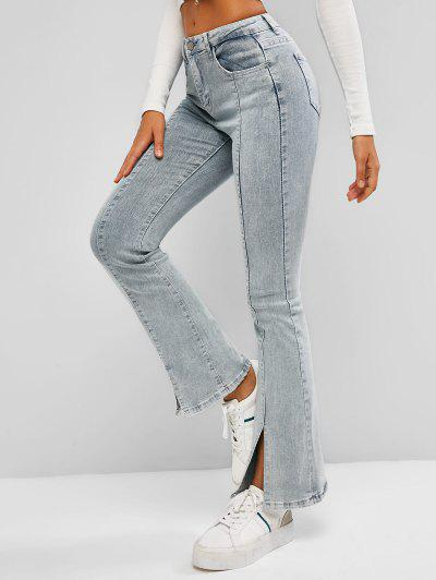 High Waisted Front Slit Flare Jeans - Light Blue L