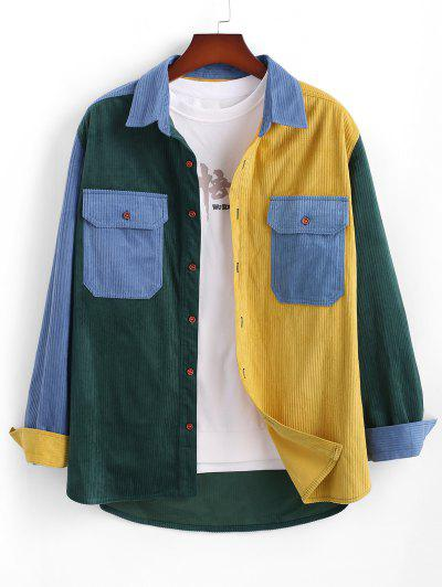 Double Pockets Contrast Ribbed Jacket - Multi Xl