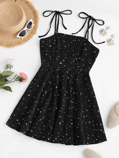Metallic Thread Sparkly Star Moon Tie Shoulder Mini Dress - Black S
