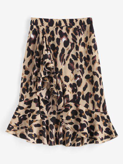 Leopard Ruffle Asymmetrical Midi Skirt - Coffee M