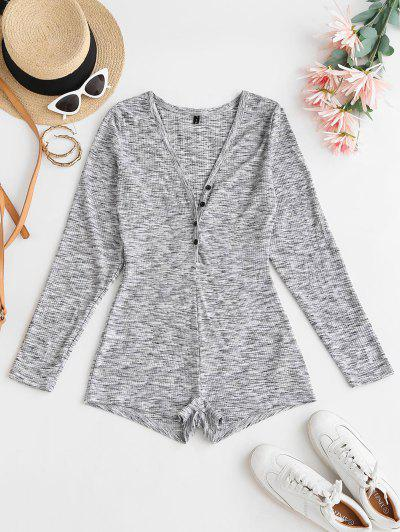 Button Front Ribbed Space Dye Romper - Light Gray L
