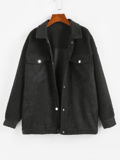 ZAFUL Corduroy Faux Shearling Flap Pocket Jacket - Black M