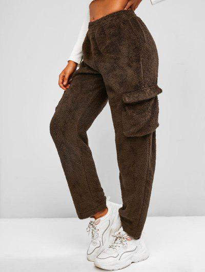Flap Pockets Borg Teddy Pants - Deep Brown M