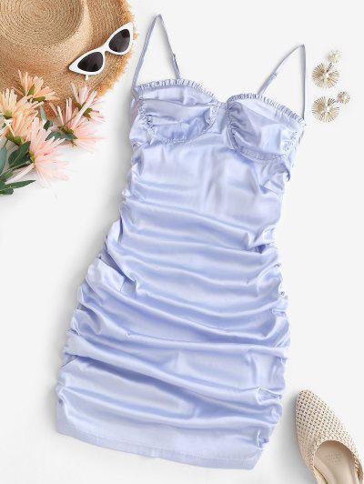 Satin Ruched Ruffled Bodycon Dress - Light Blue M