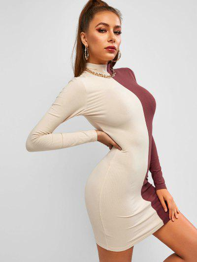 ZAFUL Mock Neck Slinky Rib-knit Bicolor Bodycon Dress - Multi M