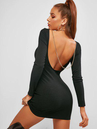 ZAFUL Chains Low Back Ribbed Club Bodycon Dress - Black S