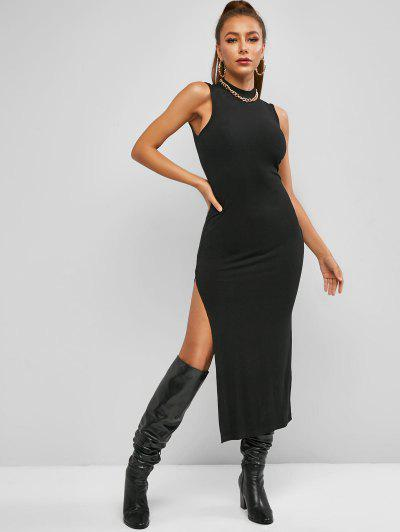 ZAFUL Mock Neck Rib-knit Slit Slinky Sleeveless Maxi Dress - Black M