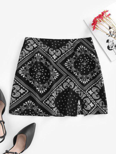 ZAFUL Scarf Print Slit Mini Skirt - Black Xl