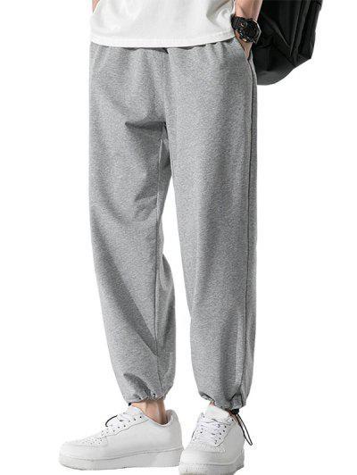 Pockets Toggle Drawstring Hem Sweatpants - Gray Cloud 2xl