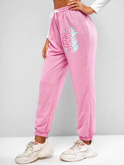 Flame DREAM GIRL Graphic Jogger Sweatpants - Light Pink L