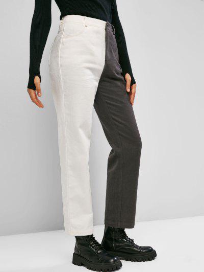 ZAFUL Bicolor Twill Straight Pants - Multi-a S