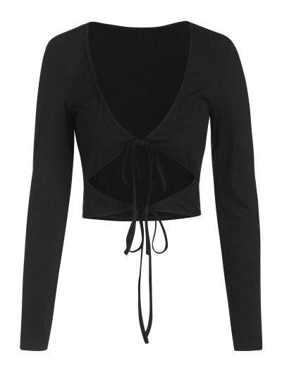 ZAFUL Ribbed Low Cut Long Sleeve Cutout Tee - Black M