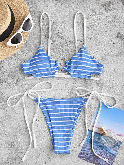 ZAFUL Skimpy Striped Ribbed O-ring Tie Side Bikini Swimwear - Light Blue S