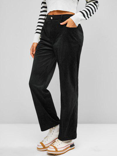 ZAFUL Corduroy Straight Fit Pants - Black M