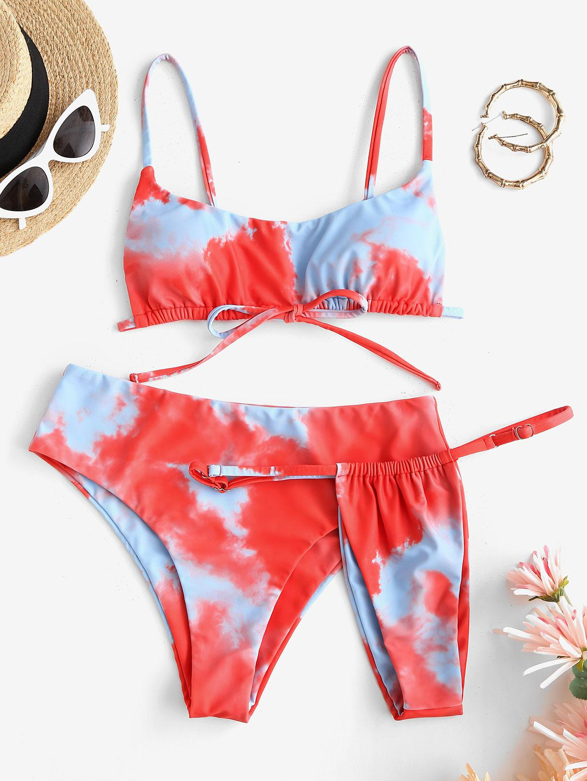 ZAFUL Tie Dye Three Piece Bikini Swimsuit