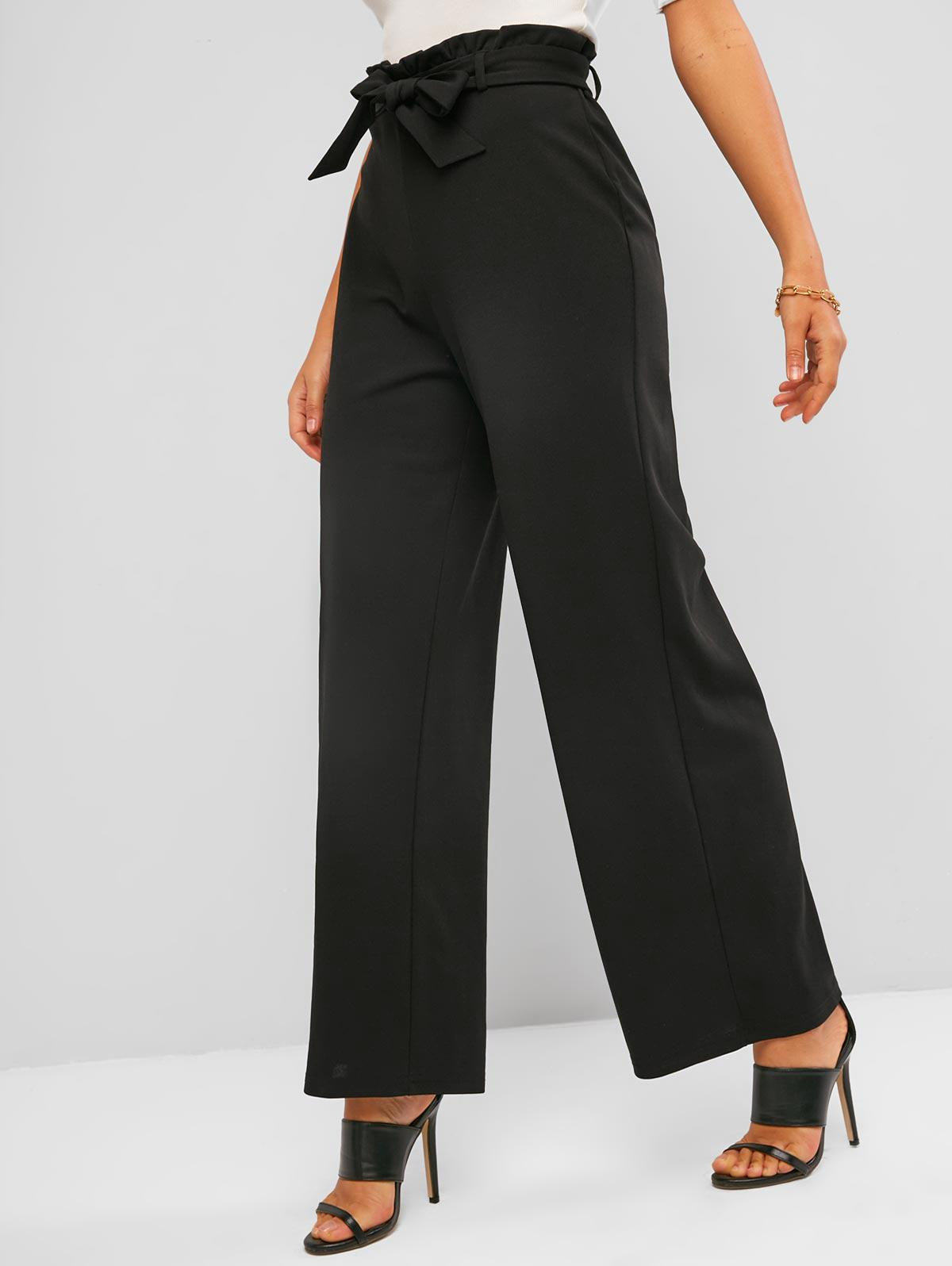 ZAFUL Belted Wide Leg Paperbag Pants