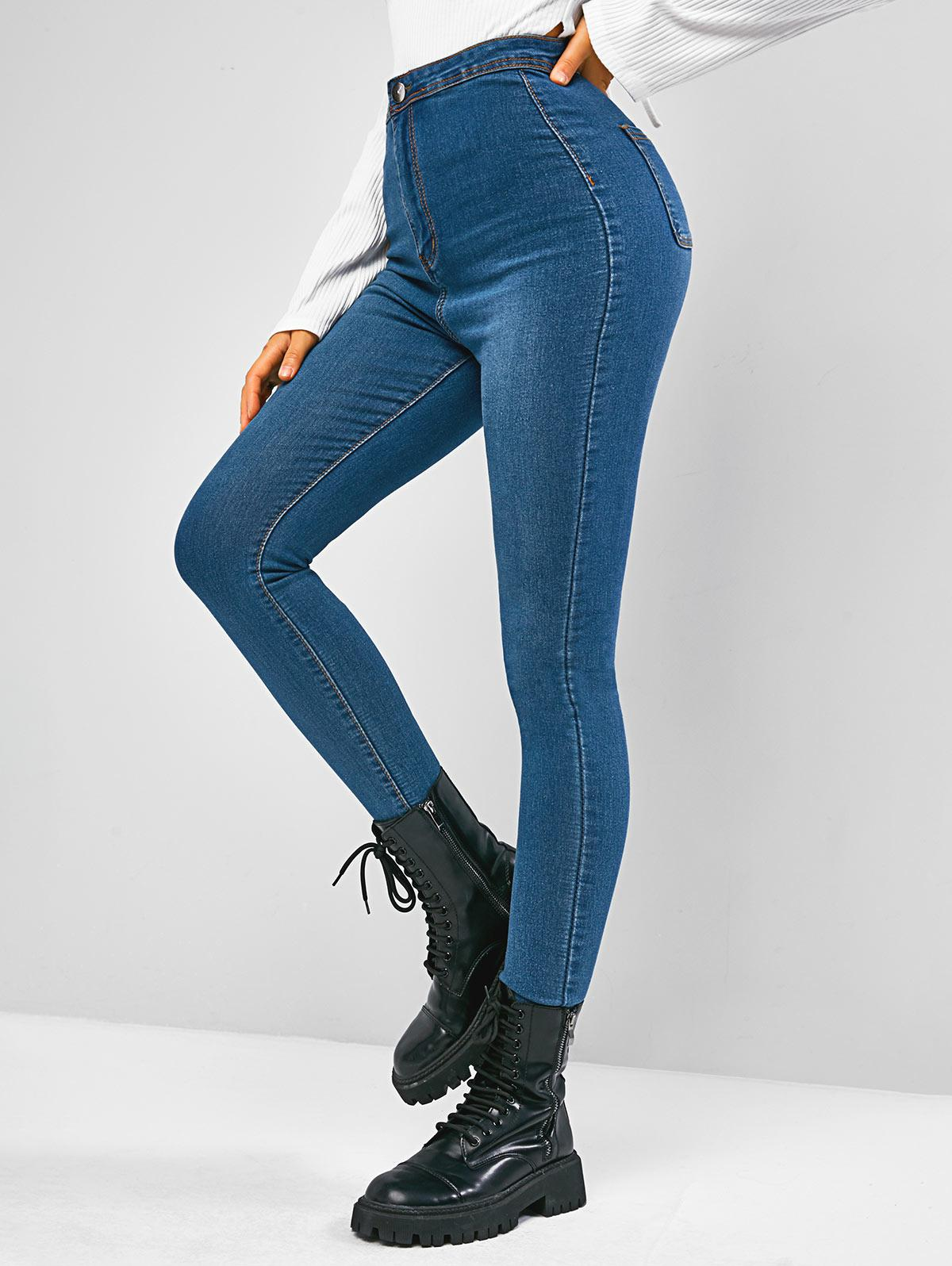 High Waisted Zip Fly Skinny Jeans