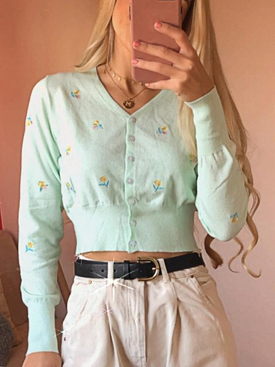 ZAFUL Flower Embroidered Button Up Crop Cardigan - اخضر فاتح XL