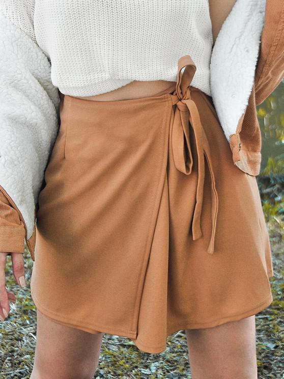 fancy ZAFUL Self Tie Mini A Line Skirt - BROWN BEAR M