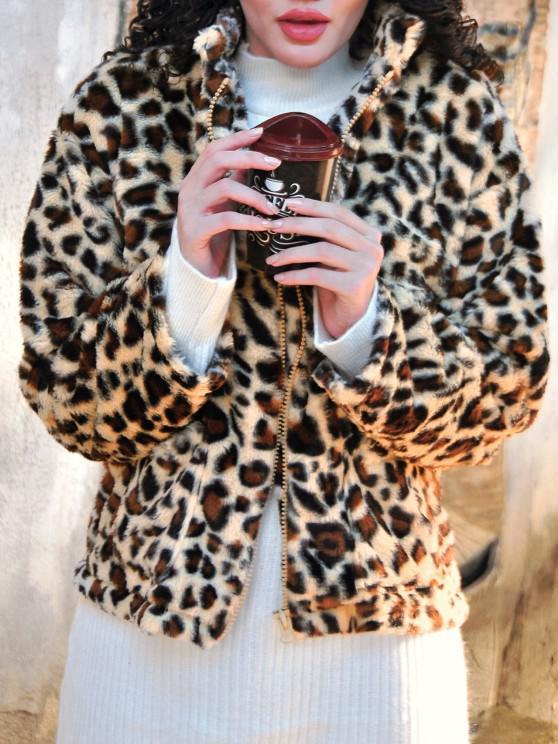 Dual Pocket Zip Up Leopard Faux Fur Coat - قهوة M